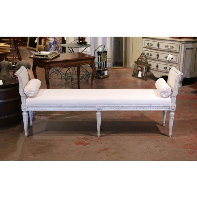 French 19th Century French Louis Philippe Carved and Painted Banquette With Back For Sale - Image 3 of 9