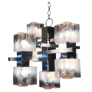 White and Amber Globe Murano Glass and Chrome Chandelier by Sciolari For Sale