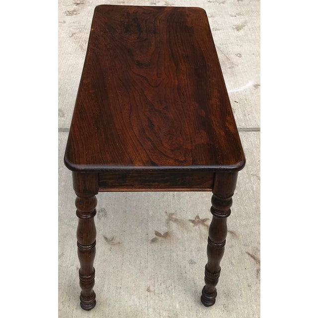 Antique Hand Hewn Rosewood Library Console Table For Sale In Dallas - Image 6 of 9