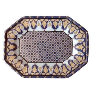 Gold & Blue Porcelain Tray For Sale