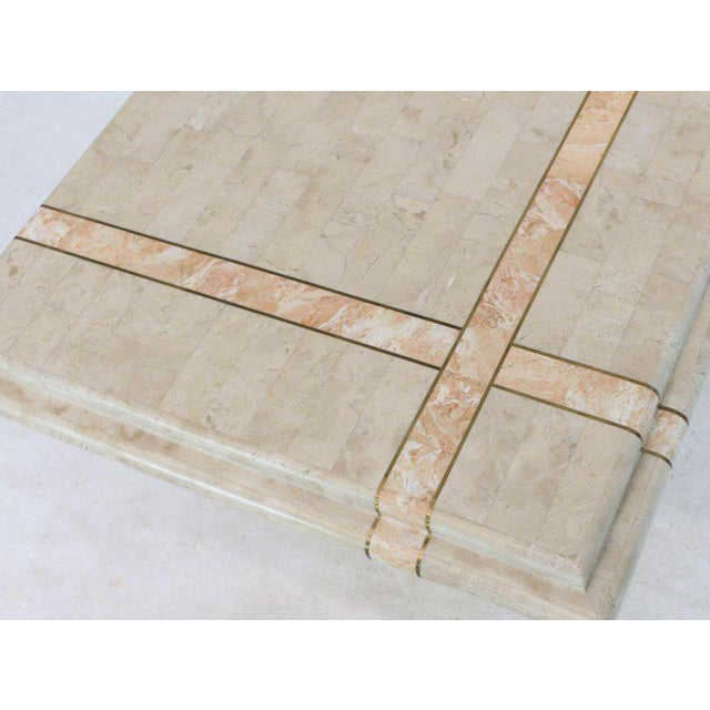 Pair of Tessellated Stone Tile Square Pedestal Shape End Side Tables Stands - A Pair For Sale - Image 10 of 11
