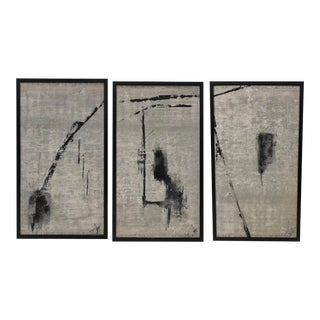 Triptych Painting, Set of Abstract Black and White Paintings. For Sale