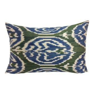 Green and Blue Silk Atlas Lumbar Pillow For Sale