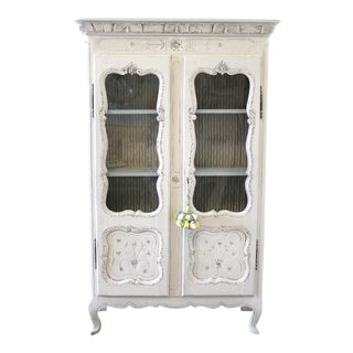 19th Century French Country Painted White Cupboard For Sale