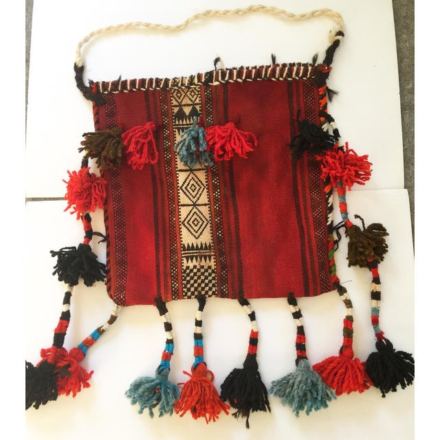 Textile Vintage Ethnic Tasseled Woven Bag Wall Hanging For Sale - Image 7 of 7