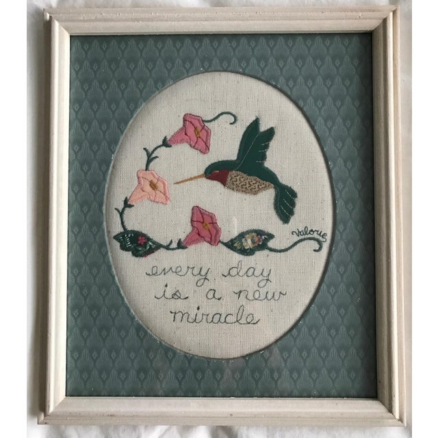 I found 2 of the loveliest wool appliqué framed pieces of folk art by an artist named Valorie Sockwell from Springdale,...