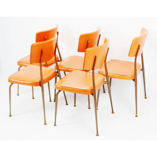 Mid-Century Modern Orange Dining Chairs - Set of 5 - Image 7 of 11