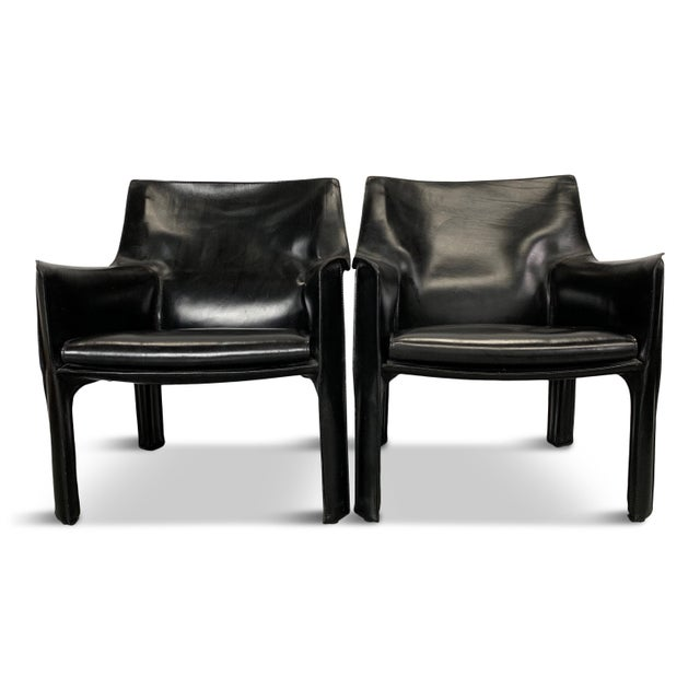 1960s Vintage Mario Bellini Black Leather Cassina Cab Chairs- Pair For Sale In Philadelphia - Image 6 of 6