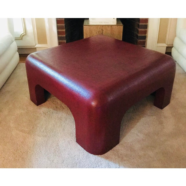 Red Linen-Wrapped Oxblood-Red Cocktail Table After Karl Springer For Sale - Image 8 of 8