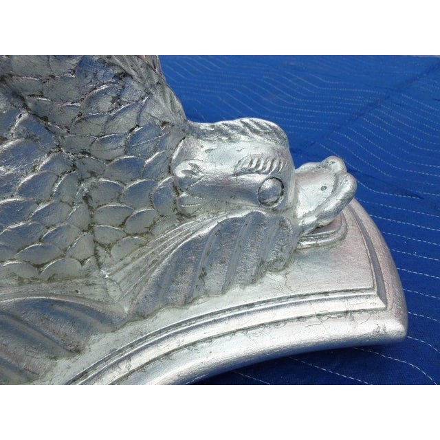 Chic Vintage Italianate Silver Leafed Carved Wood Table Intertwined Dolphins For Sale In Miami - Image 6 of 9