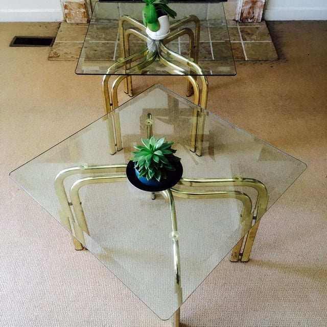 Mid Century Brass & Glass Side Tables - a Pair - Image 9 of 9