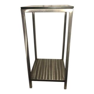 Art Deco Chrome & Glass Pedestal Stand Table Shelf