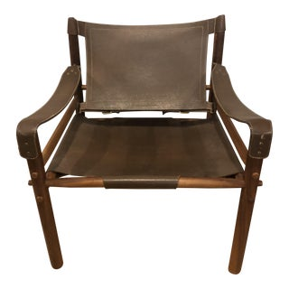 Arne Norell Leather and Rosewood Sirocco Safari Chair For Sale