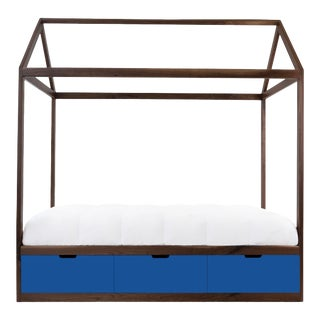 Nico & Yeye Domo Zen Twin Canopy Bed Made of Solid Walnut Pacific Blue Drawers For Sale