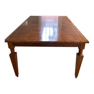 Transitional Baker Furniture Cherry Dining Table With Inlaid Top For Sale