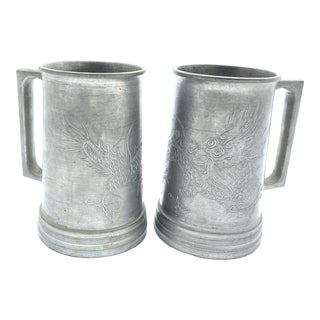 Pair of Vintage Tehyee Large Pewter Tankard Mugs With Engraved Dragon Motifs and Clear Glass Bottoms For Sale