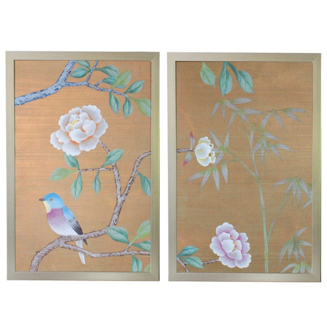 1970s Vintage Hand-Painted Chinoiserie Wallpaper Remnant Diptych Rendered on Copper Silk - 2 Pieces For Sale - Image 5 of 5