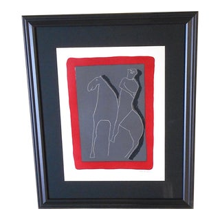 Vintage Ltd. Ed. Marino Marini Silkscreen-Abstract Equine-1959-Folio Size-Framed For Sale
