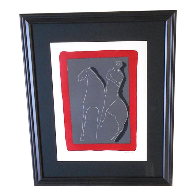 Vintage Ltd. Ed. Marino Marini Silkscreen-Abstract Equine-1959-Folio Size-Framed For Sale