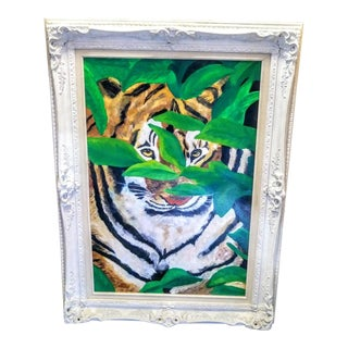 Large Vintage Handpainted Tiger in the Field Oil Painting in Vintage Ornate Frame For Sale