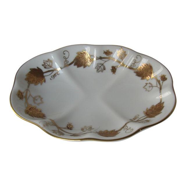 Vintage White & Gold Porcelain Soap Dish For Sale