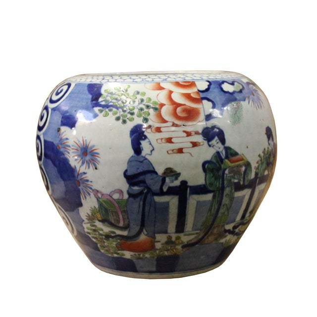 1990s Chinese Oriental People Scenery Graphic Ceramic Vase Jar Pot For Sale - Image 5 of 9