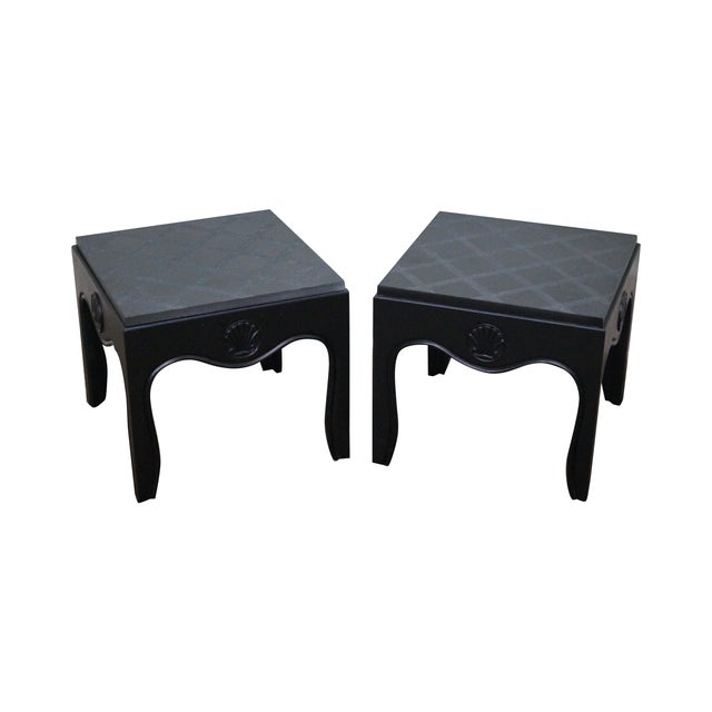 Mid-Century Ebonized Black Slate Top Side Tables - A Pair For Sale