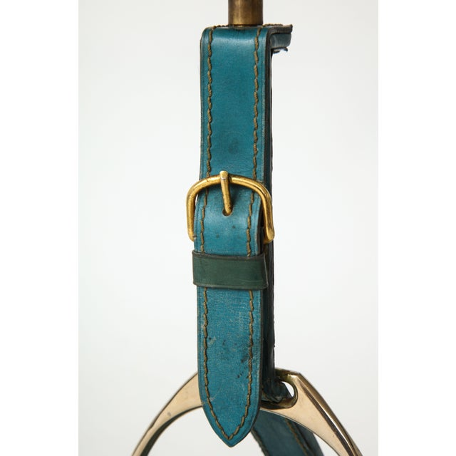 "French Very Nice Blue Leather ""Stirrup"" Lamp in the Style of Jacques Adnet For Sale - Image 3 of 11"