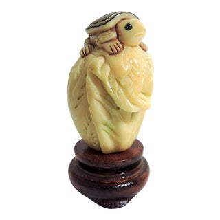 1980s Vintage Turtle on Chinese Cabbage Netsuke Sculpture With Turned Wood Stand For Sale
