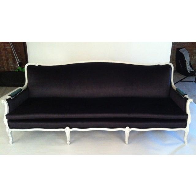 Antique Louis Canapé Black Velvet Sofa - Image 2 of 10
