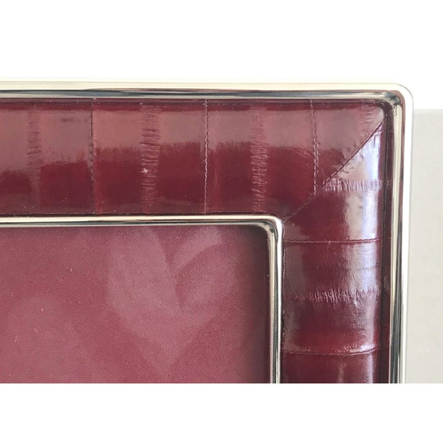 Modern Burgundy Leather Photo Frame by Fabio Ltd For Sale - Image 3 of 7