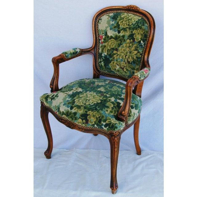 Scalamandre Marly Velvet Tapestry Upholstered Walnut Armchair - Image 8 of 10