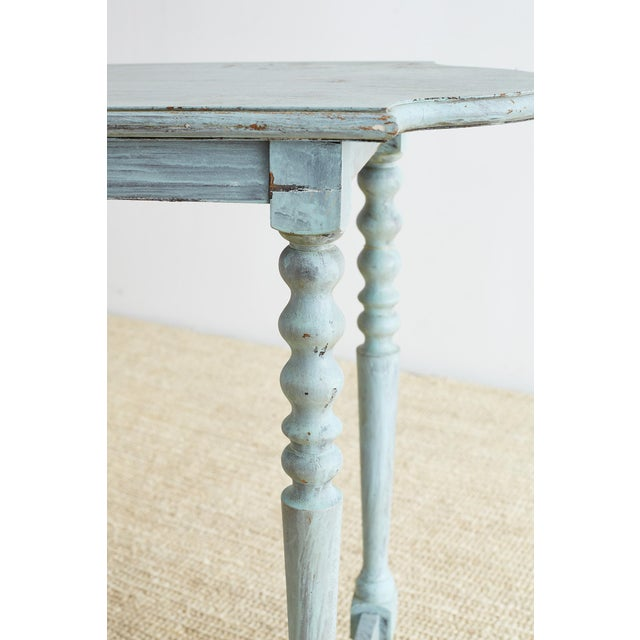 Robin's Egg Blue Painted Console Sofa Table For Sale - Image 9 of 13