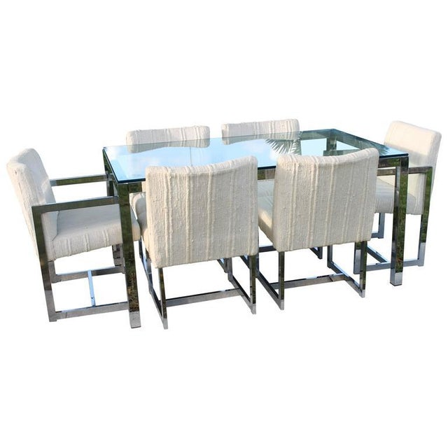 Milo Baughman for DIA Mid-Century Chrome Table & Chairs Dining Set - Set of 7 For Sale - Image 11 of 11