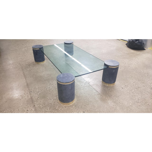 1980s Karl Springer Died Goat Skin & Brass Coffee Table For Sale - Image 5 of 7