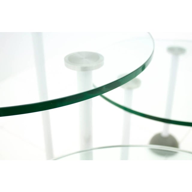 Memphis Set of Three Glass Tables With Wheels, Memphis, 1987 For Sale - Image 3 of 6