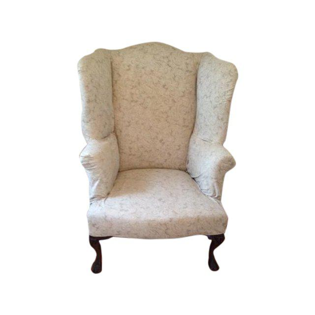 Fabric 20th Century Queen Anne Antique White Upholstered Mahogany Wingback Chair For Sale - Image 7 of 7
