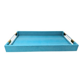 Turquoise Blue Faux Snakeskin With Lucite Handles Tray