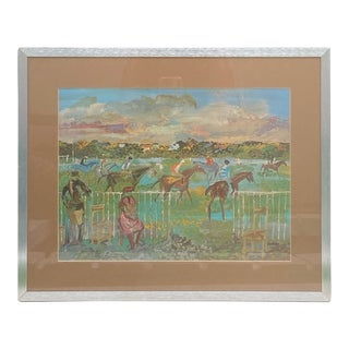 Vintage Equestrian Landscape Art of Jockey Horse Race Lithograph From Oil Painting For Sale
