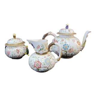 Porcelain Chinoiserie Flower Tea Set With Figural Asian China Men Handle Finial For Sale