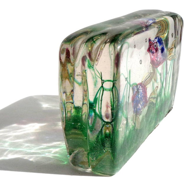 Beautiful Murano hand blown blue, pink silver flecks and ribbons Italian art glass aquarium sculpture. Attributed to...