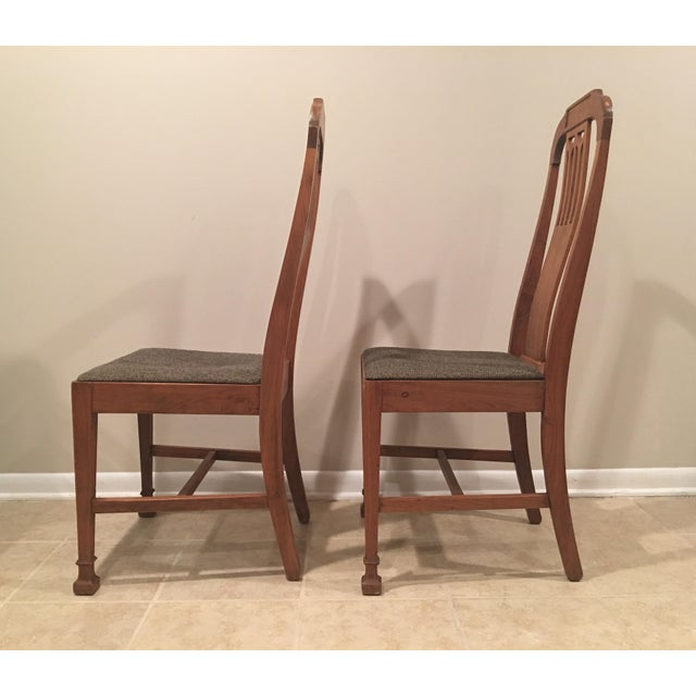 1920s Mission Arts & Crafts Craftsman Wood Chairs With Canvas Seats - Set of 2 For Sale - Image 5 of 11