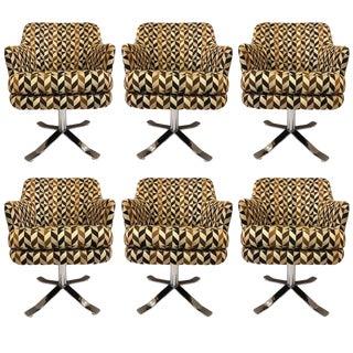 Set of Six Nicos Zographos Swivel Chairs