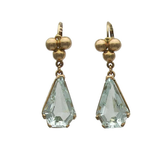 14k Gold Retro Aquamarine Pierced Earrings Earrings - a Pair For Sale - Image 4 of 4