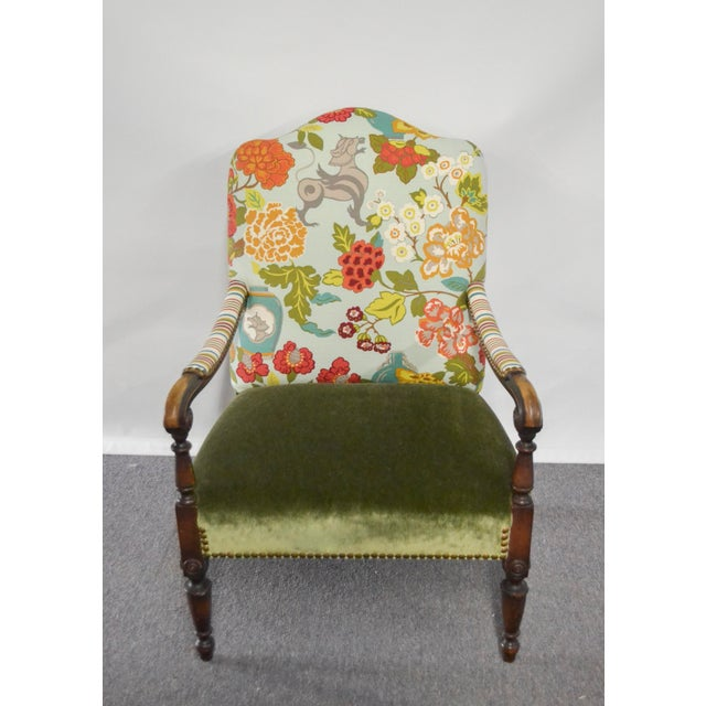 Wood Modern Occasional Chair in Fabricut Print With Mohair For Sale - Image 7 of 7
