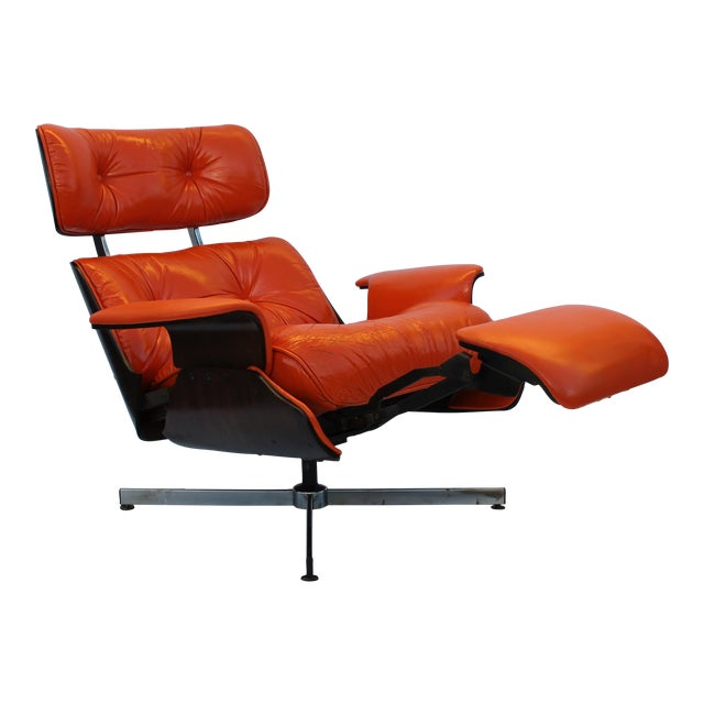 Mid-Century Modern Orange Leather Recliner - Image 1 of 11
