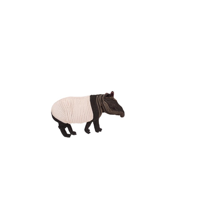 This lively, large-scale fiber art anteater or Tapir features the softness of plush white cotton on its belly contrasted...