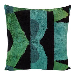 "Natural Silk Velvet Ikat Pillow - Tiki Black and Green, 20"" X 20"" For Sale"