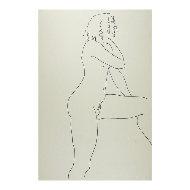 Vintage Pen & Ink Female Nude Drawing Study For Sale