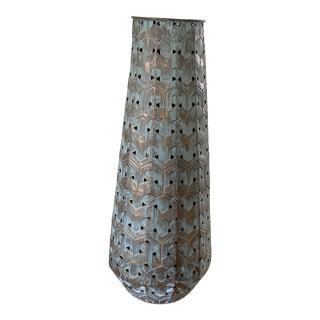 Aqua & Gold Rugged Patina Metal Umbrella Holder For Sale